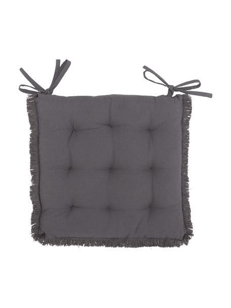 Cojín de asiento con flecos Prague, Gris antracita, An 40 x L 40 cm