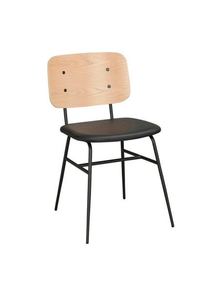 Silla de madera Brent, Asiento: cuero sintético (poliuret, Estructura: metal pintado, Roble, An 47 x F 57 cm