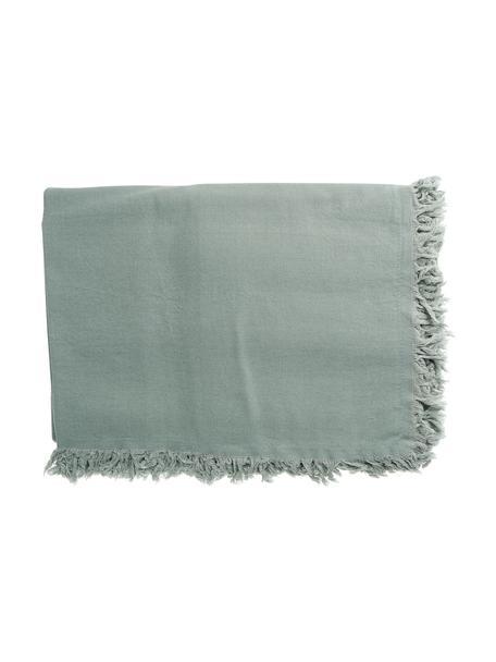 Obrus z bawełny z frędzlami Nalia, 100% bawełna, Szałwiowy zielony, Dla 4-6 osób (S 160 x D 160 cm)