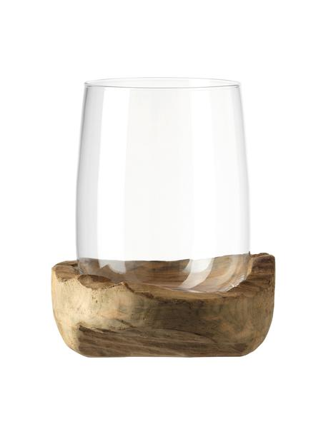 Handgemaakte windlicht Terra met  teakhouten houder, Windlicht: glas, Voetstuk: teakhout, Transparant, Ø 23 x H 27 cm