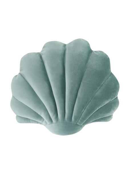 Cuscino in velluto a forma di conchiglia Shell, Retro: 100% cotone, Verde, Larg. 32 x Lung. 27 cm