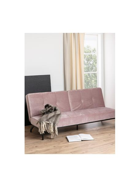 Sofá cama de terciopelo Perugia, plegable, Tapizado: poliéster Alta resistenci, Patas: metal pintado, Terciopelo rosa, An 198 x F 95 cm