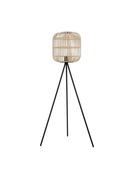 Driepoot vloerlamp Bordesley in boho stijl, Lampenkap: hout, Lampvoet: staal, Zwart, hout, Ø 35 x H 139 cm
