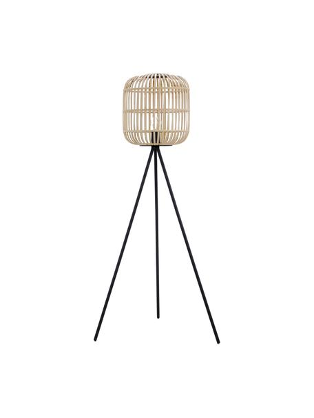 Lampada da terra boho Bordesley, Paralume: legno, Base della lampada: acciaio, Nero, legno, Ø 35 x Alt. 139 cm