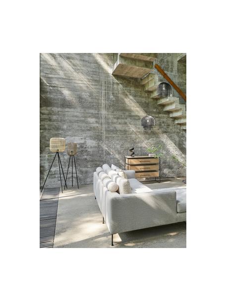 Tripod Stehlampe Bordesley im Boho-Style, Lampenschirm: Holz, Lampenfuß: Stahl, Schwarz, Holz, Ø 35 x H 139 cm