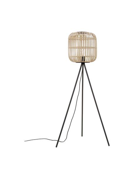 Tripod Stehlampe Bordesley im Boho-Style, Lampenschirm: Bambus, Holz, Lampenfuß: Stahl, Schwarz, Holz, Ø 35 x H 139 cm
