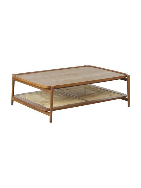 Tavolino da salotto in legno di quercia con intreccio viennese Libby, Ripiano: rattan, Struttura: legno massiccio di querci, Legno di noce, Larg. 110 x Alt. 35 cm
