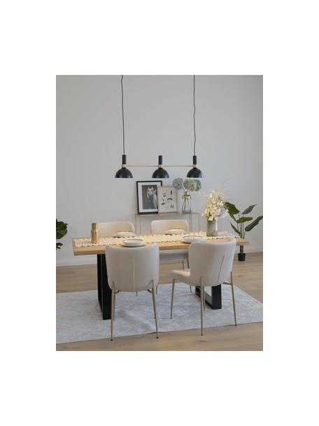 Lámpara de techo grande Larry, Anclaje: latón pintado, Cable: cubierto en tela, Negro, latón, An 100 x Al 24 cm