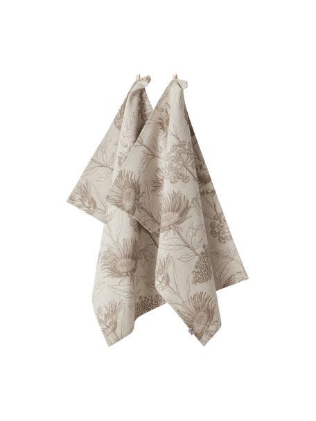 Strofinaccio con stampa floreale Freya 2 pz, 86% cotone, 14% lino, Beige, marrone, Larg. 50 x Lung. 70 cm