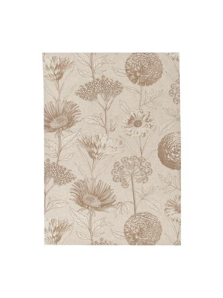 Theedoeken Freya met bloemenprint, 2 stuks, 86% linnen, 14% katoen, Beige, bruin, 50 x 70 cm