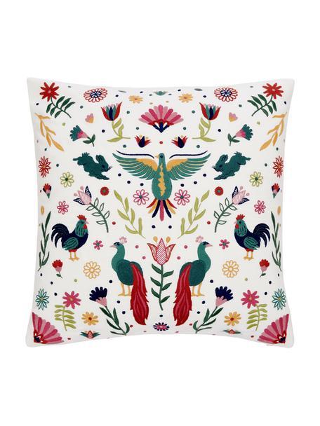 Geborduurde kussenhoes Folka met gekleurd patroon, 100% katoen, Multicolour, 45 x 45 cm