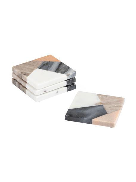 Vierkante marmeren onderzetters Bradney, 4-delig, Keramiek, marmer, Multicolour, 10 x 10 cm