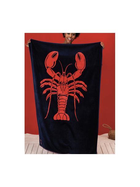 Strandlaken Lobster, Fluweel (katoen) middelzware stofkwaliteit, 420g/m², Donkerblauw, oranjerood, 100 x 180 cm