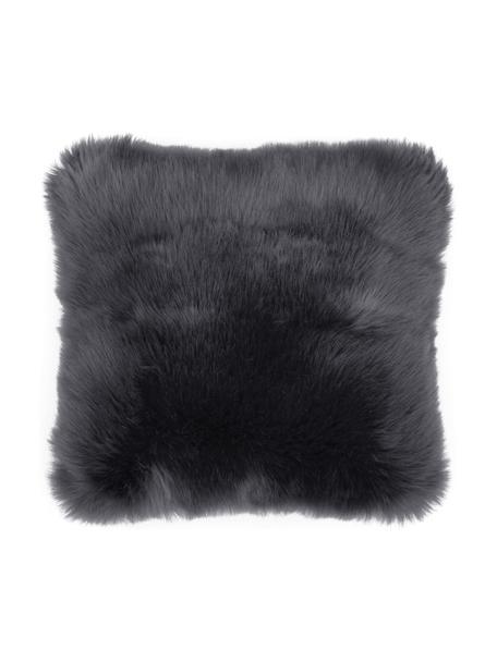 Poszewka na poduszkę ze sztucznego futra Mathilde, Ciemny szary, S 40 x D 40 cm