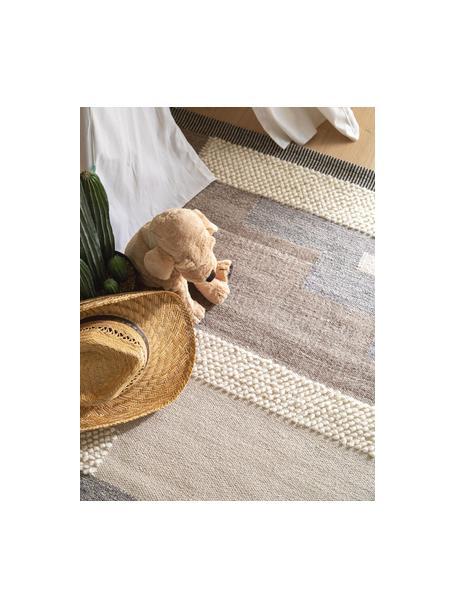 Alfombra de lana artesanal texturizada con borlas Tammi, 80%lana, 20%algodón Las alfombras de lana se pueden aflojar durante las primeras semanas de uso, la pelusa se reduce con el uso diario, Gris, beige, gris pardo, An 80 x L 120 cm (Tamaño XS)