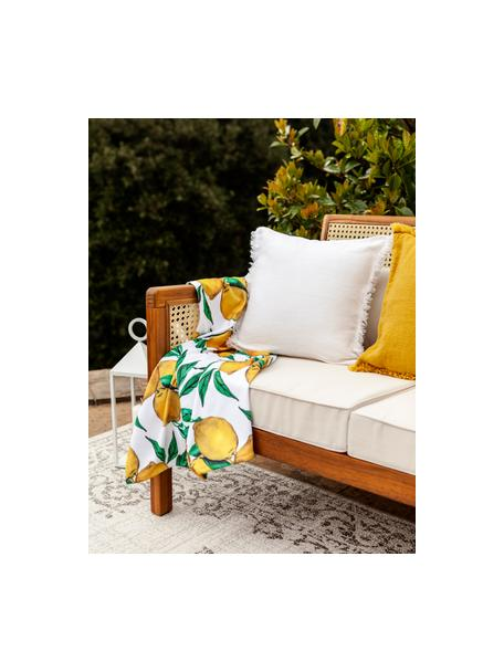 Toalla de playa ligera Lemon, 55%poliéster, 45%algodón Gramaje ligero 340g/m², Blanco, verde, amarillo, An 70 x L 150 cm