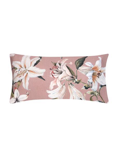 Poszewka na poduszkę z satyny bawełnianej Flori, 2 szt., Przód: brudny różowy, kremowobiały Tył: brudny różowy, S 40 x D 80 cm