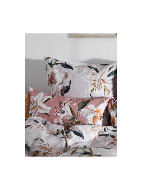 Baumwollsatin-Kopfkissenbezüge Flori in Altrosa mit Blumen-Print, 2 Stück, Webart: Satin Fadendichte 210 TC,, Vorderseite: Altrosa, Cremeweiß Rückseite: Alrosa, 40 x 80 cm