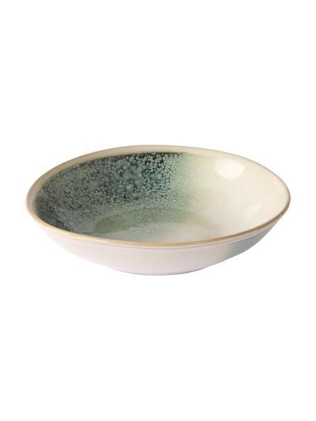 Piatto fondo fatto a mano anni '70 2 pz, Ceramica, Tonalità verdi, beige, Larg. 21 x Alt. 5 cm