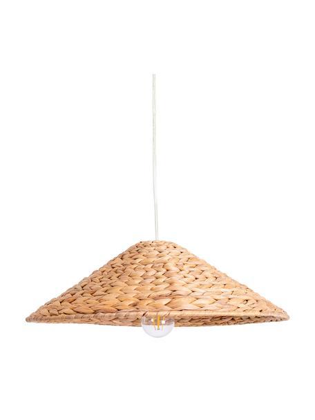 Boho hanglamp Corb, Lampenkap: waterhyacintgras, Baldakijn: kunststof, Bruin, Ø 45 x H 14 cm