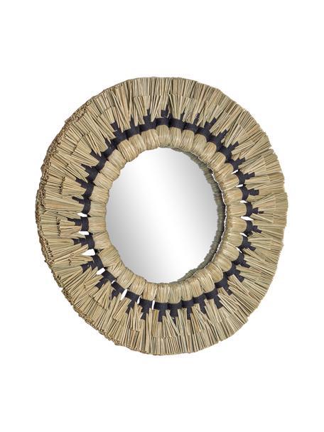 Okrągłe lustro ścienne z ramą z suszonej trawy Akila, Beżowy, czarny, Ø 40 x G 5 cm