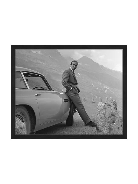 Ingelijste digitale print Sean Connery (James Bond), Afbeelding: digitale print op papier,, Lijst: gelakt hout, Zwart, wit, 43 x 33 cm