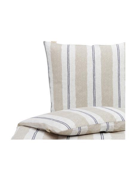 Bedruckte Baumwoll-Bettwäsche Nautic Stripes, Webart: Renforcé Fadendichte 144 , Sandfarben, Beige, Dunkelblau, 135 x 200 cm + 1 Kissen 80 x 80 cm