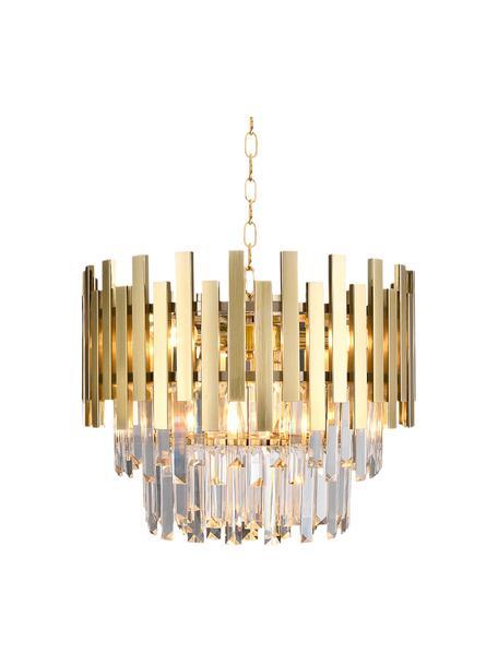 Design kroonluchter Aspen in goudkleur, Baldakijn: gecoat metaal, Goudkleurig, transparant, Ø 45 x H 30 cm