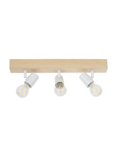 Lampa sufitowa z drewna Townshend, Biały, drewno naturalne, S 48 x W 13 cm