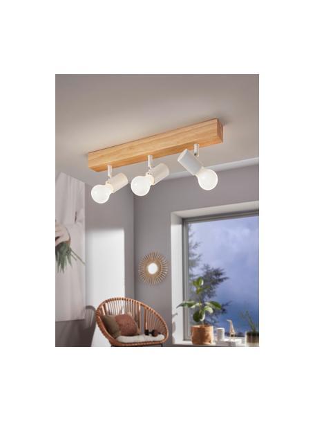 Plafondspot Townshend van hout, Baldakijn: hout, Wit, houtkleurig, 48 x 13 cm