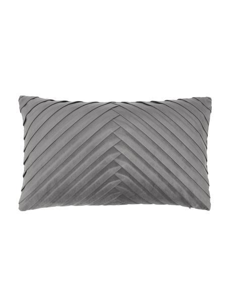 Federa arredo strutturata in velluto grigio scuro Lucie, 100% velluto (poliestere), Grigio, Larg. 30 x Lung. 50 cm