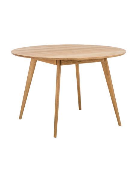 Tavolo rotondo con rivestimento in legno di quercia Yumi, Piano d'appoggio: pannello di fibra a media, Gambe: legno di quercia massello, Marrone, Ø 115 x Alt. 74 cm