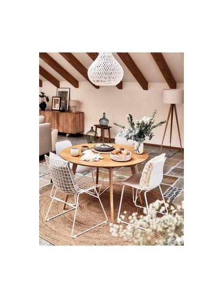 Tavolo rotondo in legno di quercia Yumi, Piano d'appoggio: pannello di fibra a media, Gambe: legno di quercia massello, Marrone, Ø 115 x Alt. 74 cm