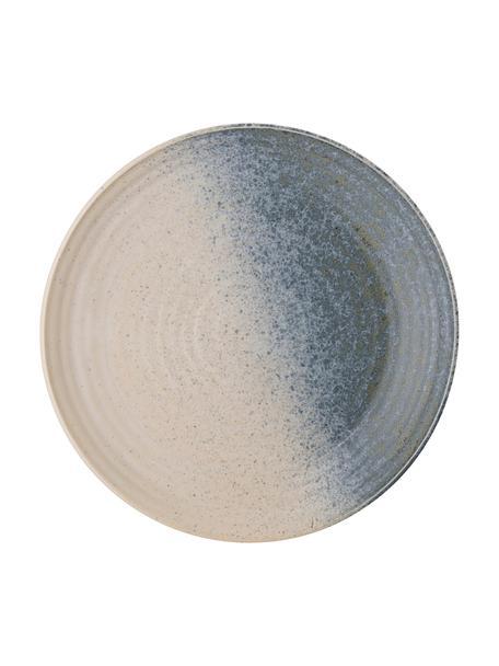 Handgefertigter Frühstücksteller Aura aus Steingut, Steingut, Blau, Beige, Grün, Ø 21 cm