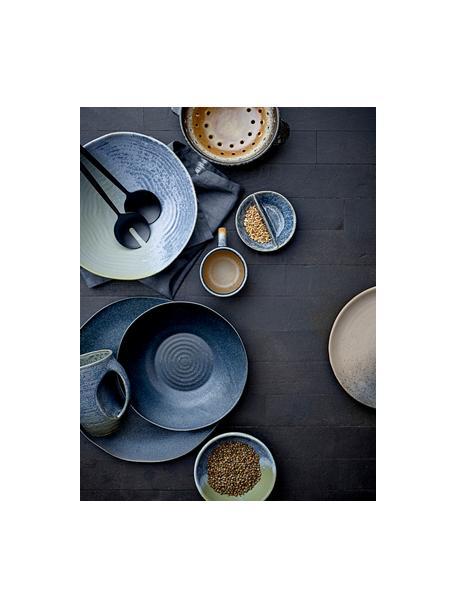 Handgemaakte ontbijtbord Aura van keramiek, Keramiek, Blauw, beige, groen, Ø 21 cm