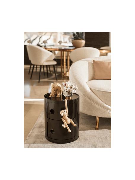 Mesa auxiliar de diseño Componibili, 3 cajones, Plástico (ABS) pintado, Negro brillante, Ø 32 x Al 40 cm