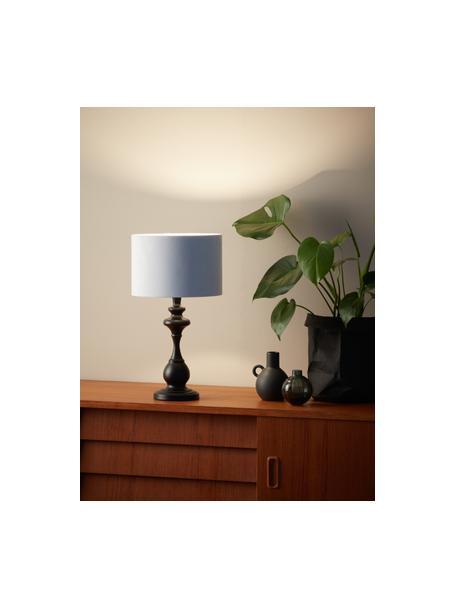 Lampada da tavolo con paralume in tessuto Connor, Paralume: tessuto, Base della lampada: metallo verniciato, Nero, bianco, Ø 24 x Alt. 45 cm