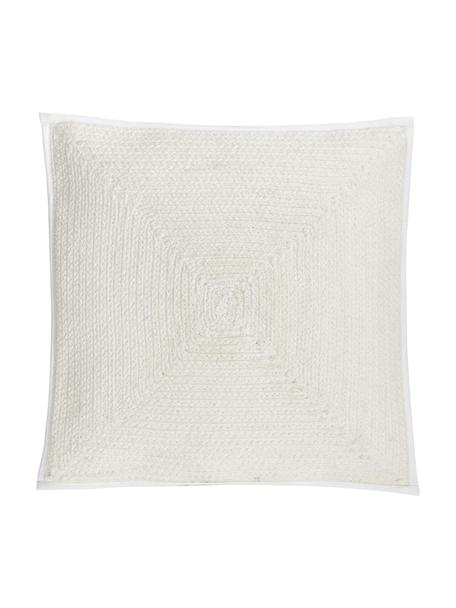 Federa arredo Justina, 100% cotone, Bianco crema, Larg. 45 x Lung. 45 cm