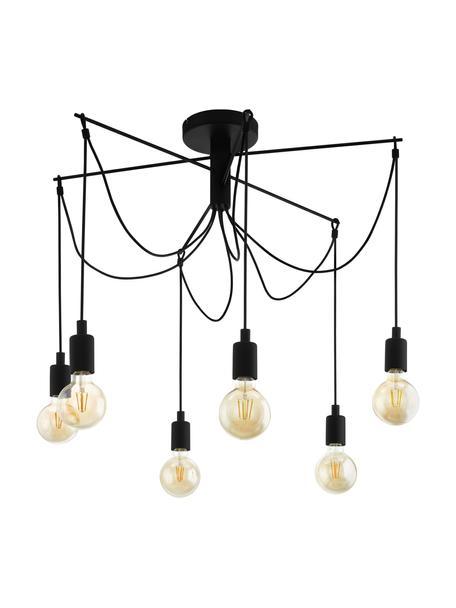 Grote hanglamp Musara, Baldakijn: gelakt metaal, Zwart, Ø 79  x H 85 cm