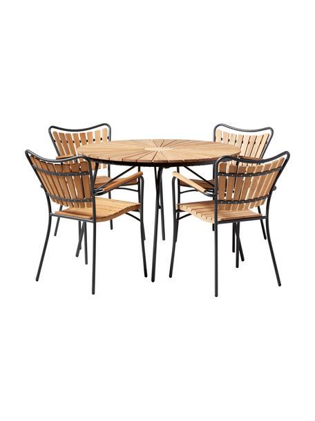 Set para exterior de madera y metal Ellen, 5pzas., Teca aceitada Aluminio con pintura en polvo, Gris antracita, teca, Set de diferentes tamaños