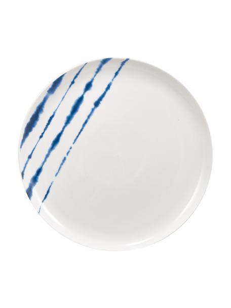 Piatto piano in porcellana con decoro acquarello Amaya 2 pz, Porcellana, Bianco, blu, Ø 26 x Alt. 2 cm