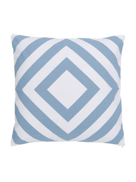 Federa arredo con motivo grafico azzurro/bianco Sera, 100% cotone, Bianco, azzurro, Larg. 45 x Lung. 45 cm