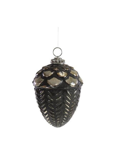 Baumanhänger Glam H 13 cm, Schwarz, Goldfarben, Ø 9 x H 13 cm