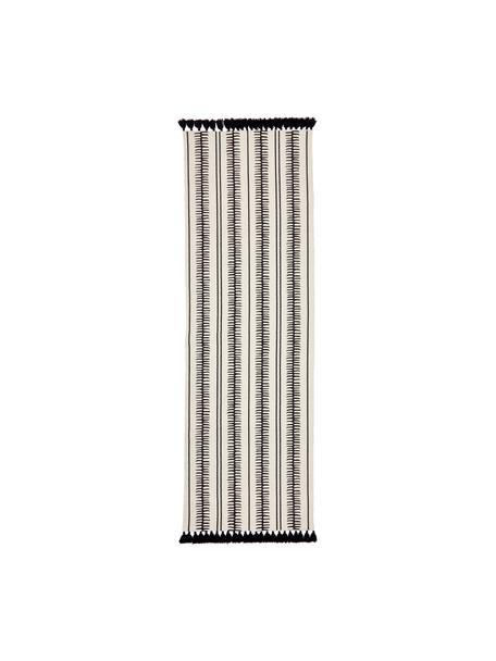 Alfombra artesanal de algodón con borlas Rita, Beige, negro, An 80 x L 250 cm
