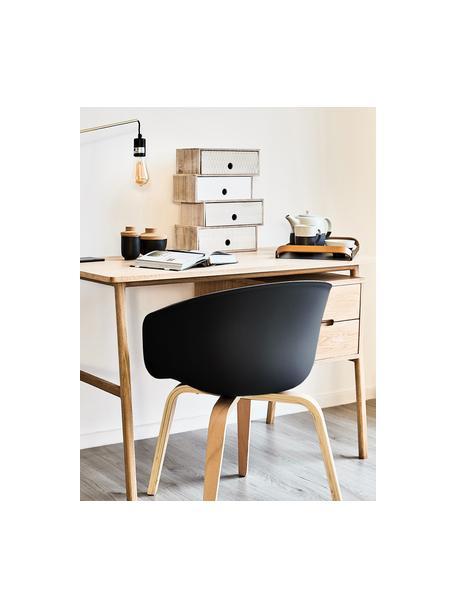 Kunststoff-Armlehnstuhl Claire mit Holzbeinen, Sitzschale: Kunststoff, Beine: Buchenholz, Schwarz, B 60 x T 54 cm
