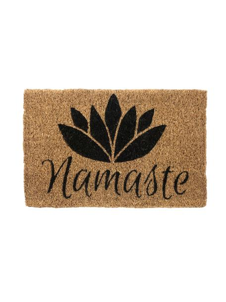 Felpudo Namaste, Parte superior: fibras de coco, blanquead, Reverso: fibras de coco, Beige, negro, An 40 x L 60 cm