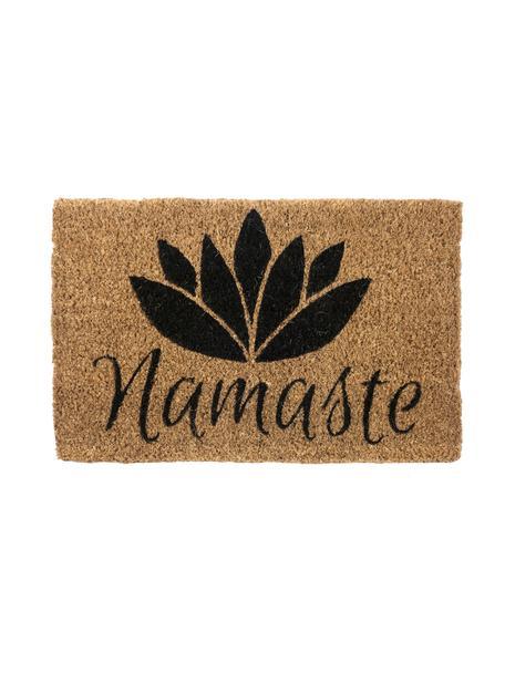 Fussmatte Namaste, Oberseite: Kokosfaser, gebleicht, Unterseite: Kokosfaser, Beige, Schwarz, 40 x 60 cm
