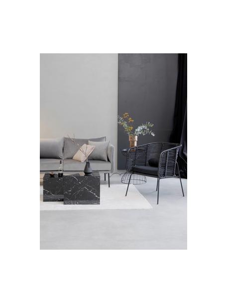 Sillón de ratán Merete, Asiento: ratán, Estructura: metal, recubierto en polv, Negro, An 72 x F 74 cm