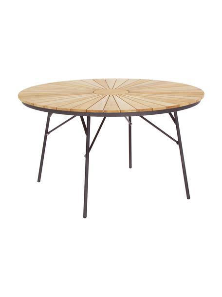 Mesa redonda de jardín de madera Hard & Ellen, Tablero: madera de teca lijada, Estructura: aluminio con pintura en p, Gris antracita, teca, Ø 130 x Al 73 cm