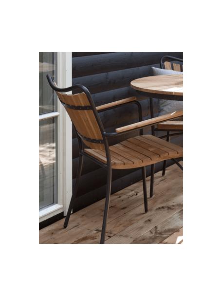 Tavolo rotondo da giardino in legno e metallo Hard & Ellen, Struttura: alluminio verniciato a po, Antracite, teak, Ø 130 x Alt. 73 cm